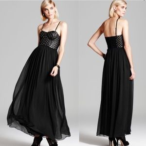 Alice + Olivia Ceil Black Stud Leather Maxi Dress